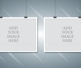 Paper mockup hanging with paper clip vectors 05