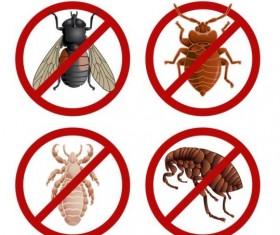 Parasites warning sign vectors set 01