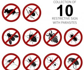 Parasites warning sign vectors set 03