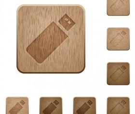 Pendrive wooden icons set