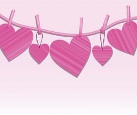 Pink heart hanging design vector 01