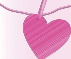 Pink heart hanging design vector 02