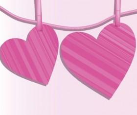 Pink heart hanging design vector 03