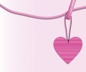 Pink heart hanging design vector 04