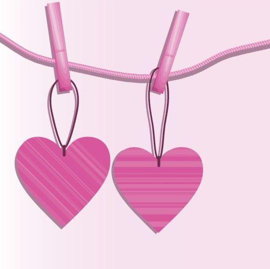 Pink heart hanging design vector 05