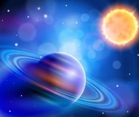 Planet rings sun vector material