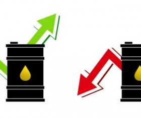 Price of oil rise and fall vector