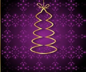 Purple christmas background with golden xmas tree vectors