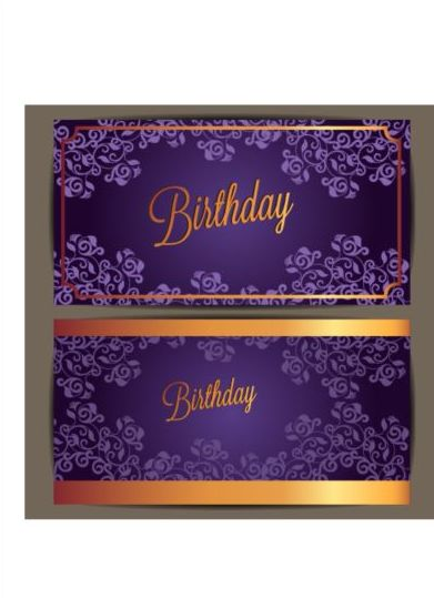 Purple Floral With Birthday Invitation Card Vector 01 Free