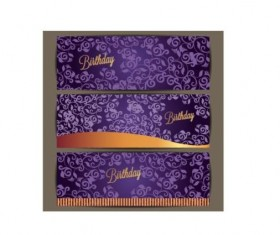 Purple floral with birthday invitation card vector 04
