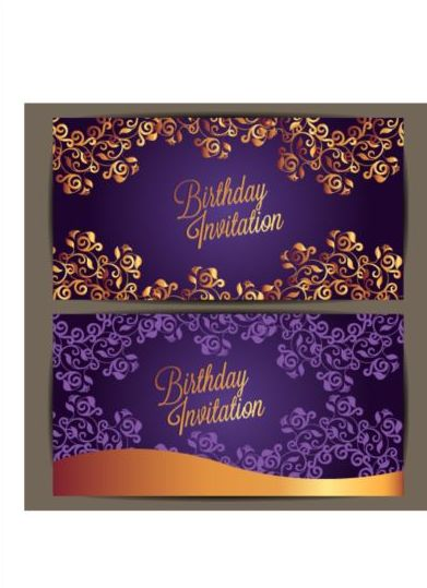 Purple Floral With Birthday Invitation Card Vector 05 Free