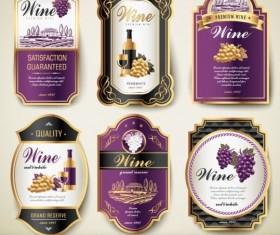 Purple with black wine labels vintage vector