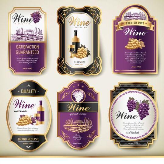 Purple with black wine labels vintage vector vector food for Purple wine bottles for sale