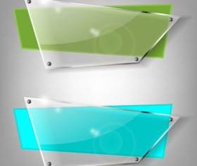 Quadrilateral glass banners vector material 01