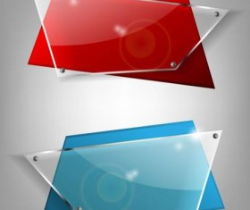 Quadrilateral glass banners vector material 02