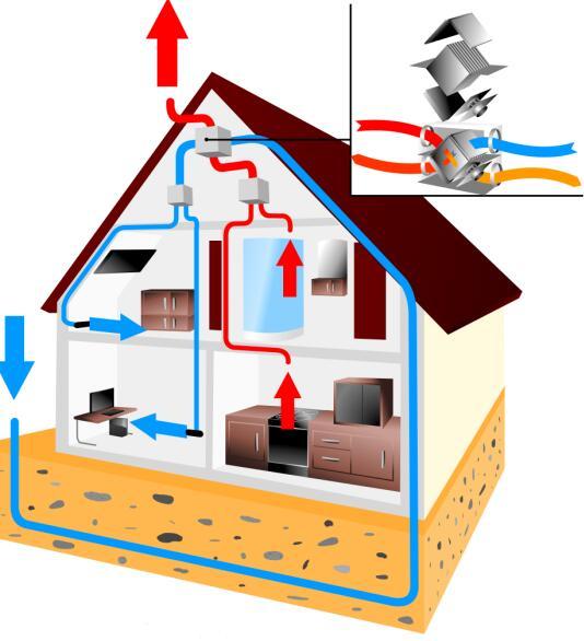Recuperator house scheme design template vector 03