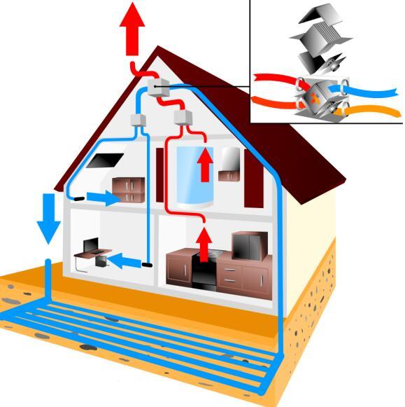 Recuperator house scheme design template vector 05