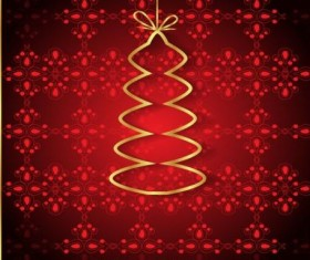Red christmas background with golden xmas tree vectors