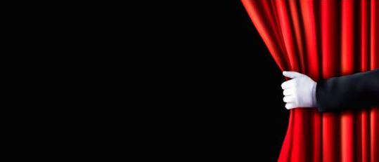 Red Curtain And Hand Vector Background