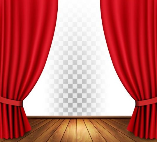 Red curtain and wood floor with art background vector for Theatre curtains psd
