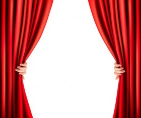 Red curtain background with hand vectors
