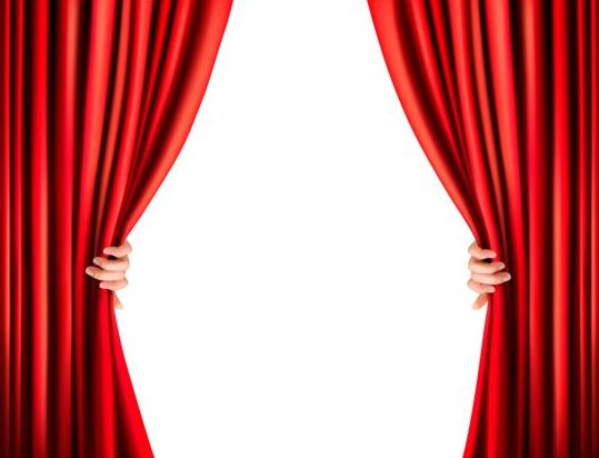 Red Curtain Background With Hand Vectors Vector