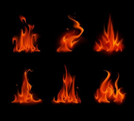Red fire flame vector set 02