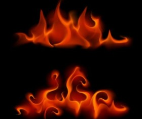 Red fire flame vector set 04