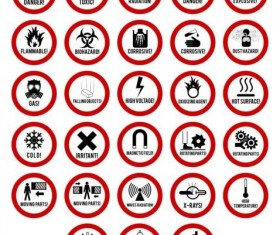 Red round danger icons vector