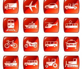 Red square transportation icons vector
