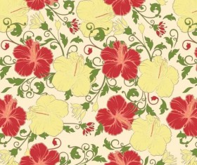Red with yellow flower vintage pattern vector