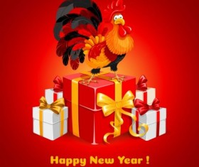 Reooster new year with gift box vector 01