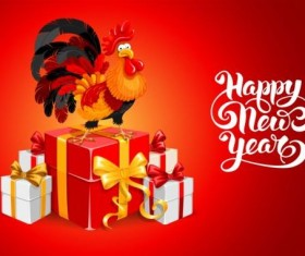Reooster new year with gift box vector 02