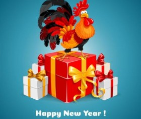 Reooster new year with gift box vector 03