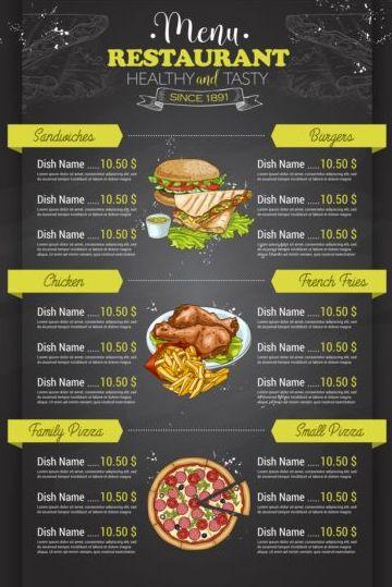 restaurant price menu vintage vector 03