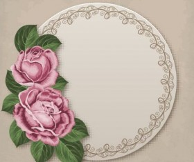 Retro floral card with beige card vector 01