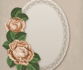 Retro floral card with beige card vector 03