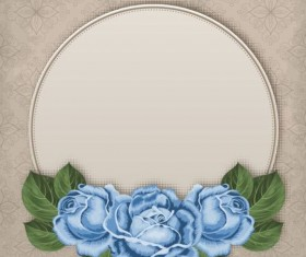 Retro floral card with beige card vector 05