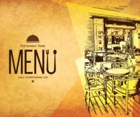 Retro with vintage restaurant menu cover vector 01