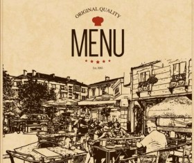 Retro with vintage restaurant menu cover vector 02
