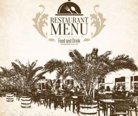 Retro with vintage restaurant menu cover vector 03