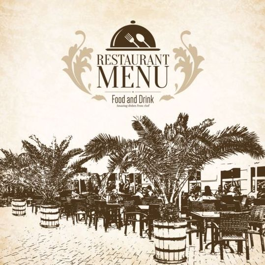 Retro with vintage restaurant menu cover vector 03 free download