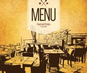 Retro with vintage restaurant menu cover vector 04