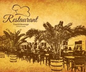 Retro with vintage restaurant menu cover vector 05