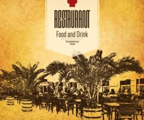 Retro with vintage restaurant menu cover vector 06