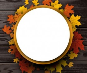 Round paper with leaves frame and wooden background vector