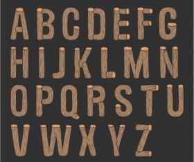 Round wooden alphabet vector