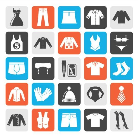 Rounded square apparel icons