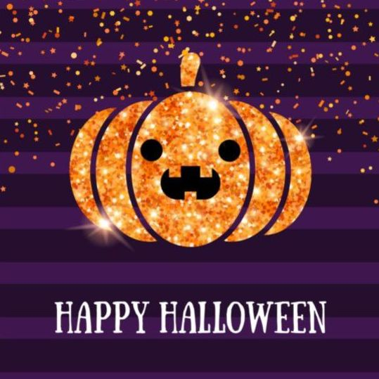 Shining Pumpkin Lantern With Happy Halloween Purple Background Vector