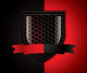 Shiny shield with red black background vector